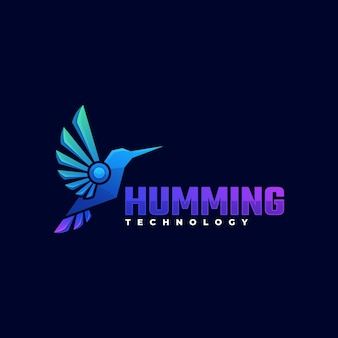 Logo afbeelding neuriën kleurverloop kleurrijke stijl.