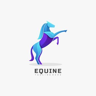 Logo afbeelding paarden kleurovergang kleurrijke stijl.