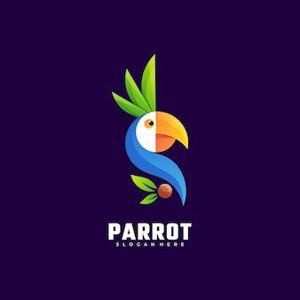 Logo afbeelding papegaai kleurovergang kleurrijke stijl.