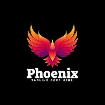Logo afbeelding phoenix kleurovergang kleurrijke stijl.