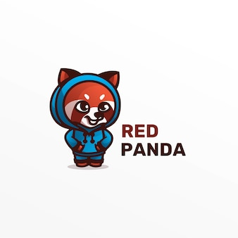 Logo afbeelding rode panda mascotte cartoon stijl.