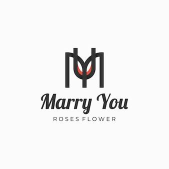 Logo afbeelding rose bloem silhouet stijl