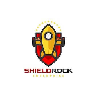 Logo afbeelding shield rocket cartoon schattige stijl.