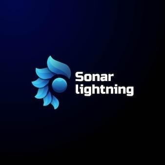 Logo afbeelding sonar verlichting kleurovergang kleurrijke stijl.