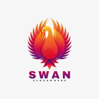 Logo afbeelding swan kleurovergang kleurrijke stijl.