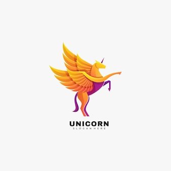 Logo afbeelding unicorn kleurovergang kleurrijke stijl.