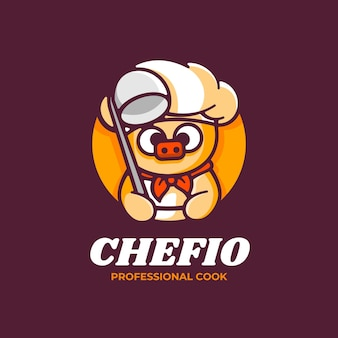 Logo afbeelding varken mascotte cartoon stijl.