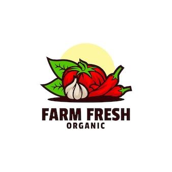 Logo afbeelding verse boerderij mascotte kleurrijke stijl