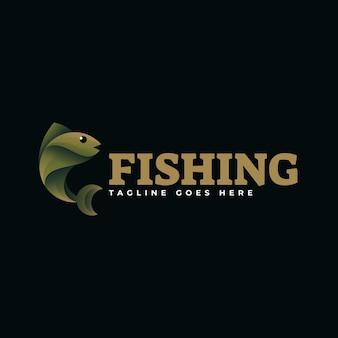 Logo afbeelding visserij kleurovergang kleurrijke stijl.