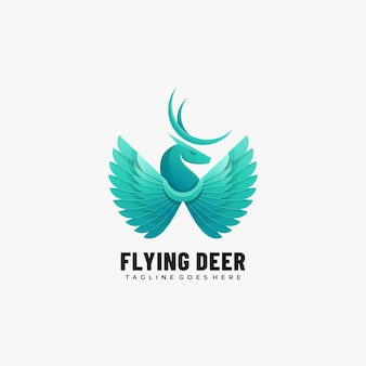 Logo afbeelding vliegende herten kleurovergang kleurrijke stijl.