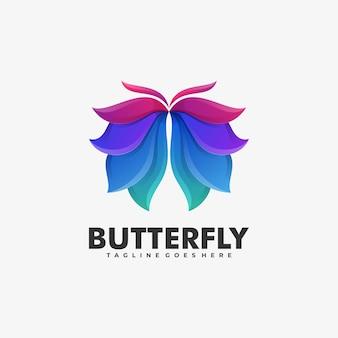 Logo afbeelding vlinder kleurovergang kleurrijke stijl.