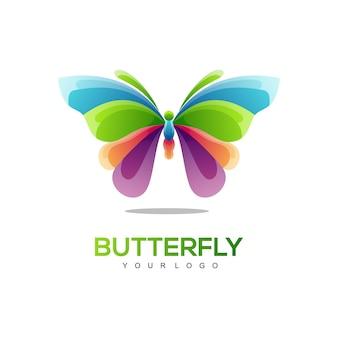 Logo afbeelding vlinder kleurverloop kleurrijke stijl