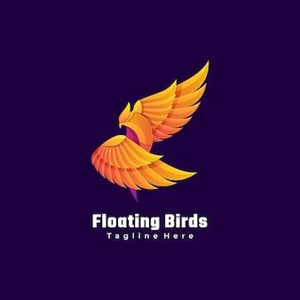 Logo afbeelding vogel kleurovergang kleurrijke stijl.