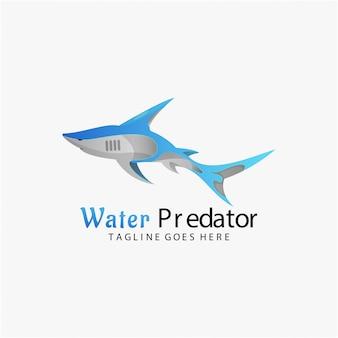 Logo afbeelding water predator kleurovergang kleurrijke stijl.