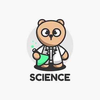 Logo afbeelding wetenschap mascotte cartoon stijl.
