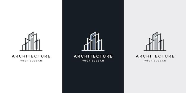 Logo-architectuur met inspiratie voor lijnconcept logo-ontwerp
