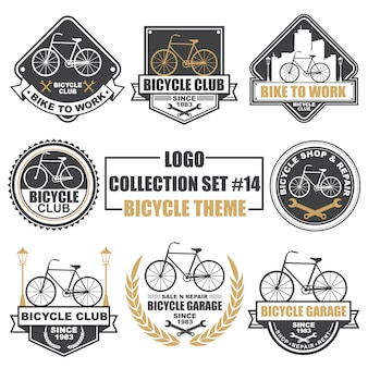 Logo, badge, symbool, pictogram, label sjabloonontwerp collectie set met fiets thema