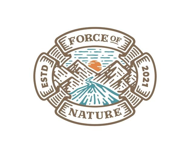 Logo badge van bergrivier met cirkel in vintage design illustratie
