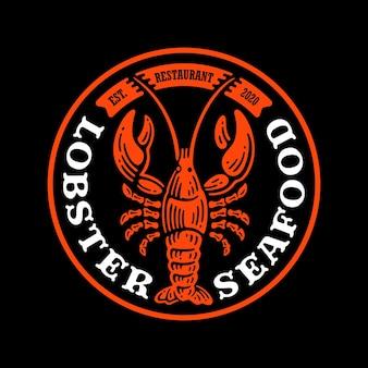 Logo badge van kreeft zeevruchten in doodle vintage