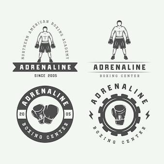 Logo-badges en labels voor boksen en vechtsporten in vintage stijl. vector illustratie