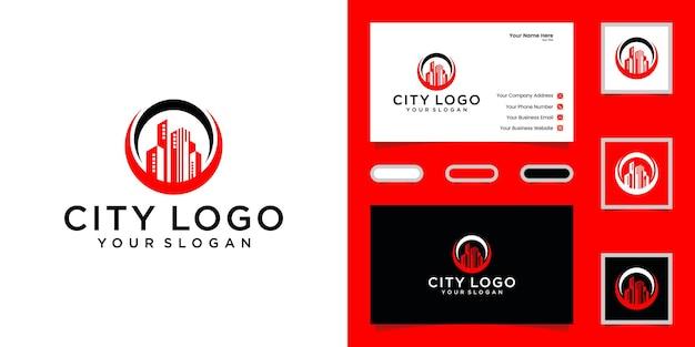 Logo bouwen met cirkel ontwerpsjabloon en visitekaartje