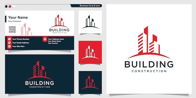 Logo bouwen met coole moderne stijl en ontwerpsjabloon voor visitekaartjes