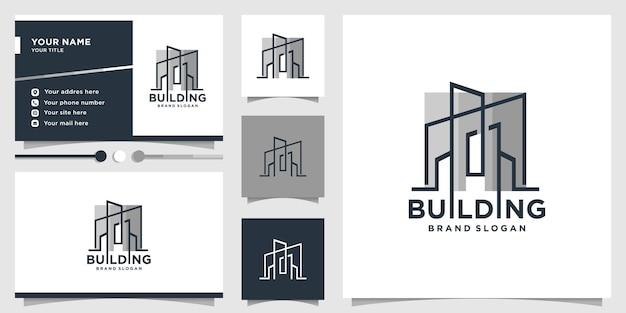 Logo bouwen met modern lijntekeningenconcept en ontwerpsjabloon voor visitekaartjes premium vector