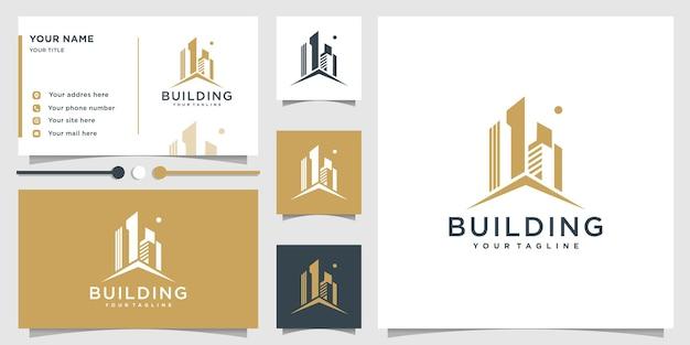 Logo bouwen met modern uniek concept en visitekaartjeontwerp premium vector