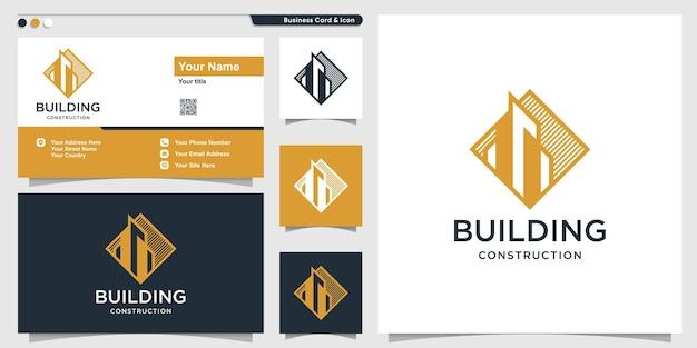 Logo bouwen met moderne stijl premium vector
