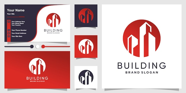Logo bouwen met moderne unieke stijl premium vector