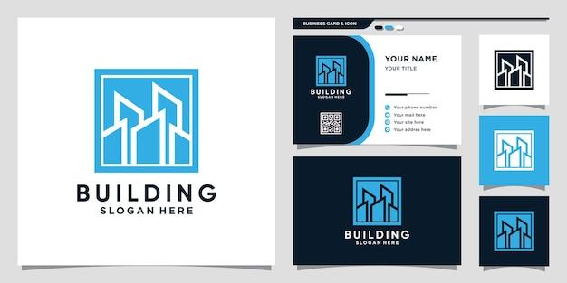 Logo bouwen met negatief ruimteconcept en visitekaartjesontwerp premium vector