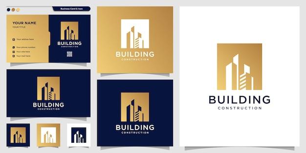 Logo bouwen met nieuw concept lijn kunststijl en visitekaartje ontwerpsjabloon, gebouw, constructie, landgoed, nieuw concept