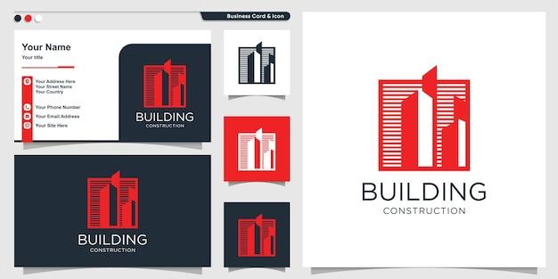 Logo bouwen met unieke stijl en ontwerpsjabloon voor visitekaartjes premium vector
