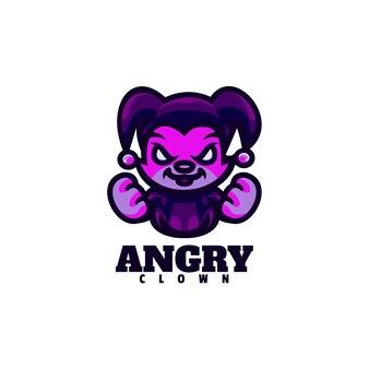 Logo boze clown mascotte cartoon stijl