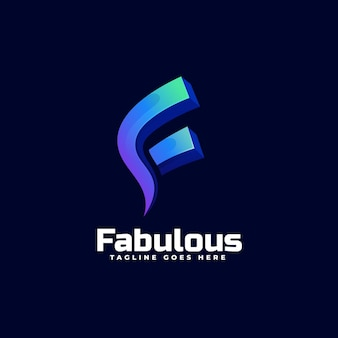 Logo brief kleurovergang kleurrijke stijl.