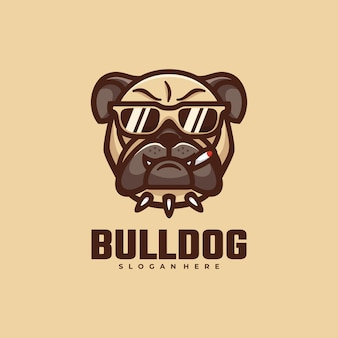 Logo bull dog simple mascot style.