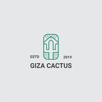 Logo cactus en piramide met lijntekeningen