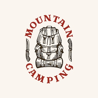 Logo camping rugzak in stijl retro afbeelding.