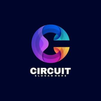 Logo circuit gradient kleurrijke stijl.