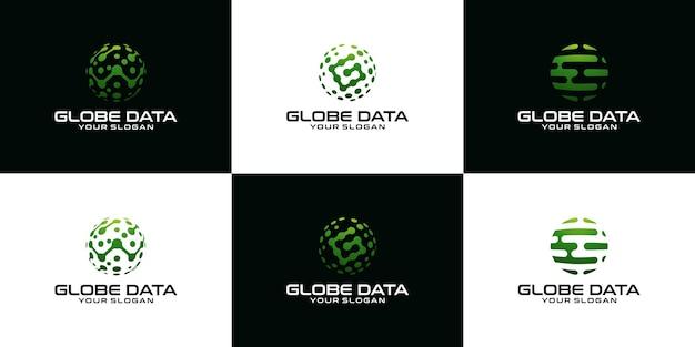 Logo collectie abstracte technologie globe