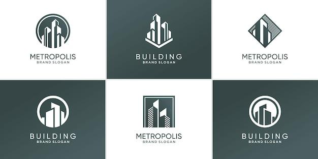 Logo-collectie bouwen met modern uniek concept premium vector