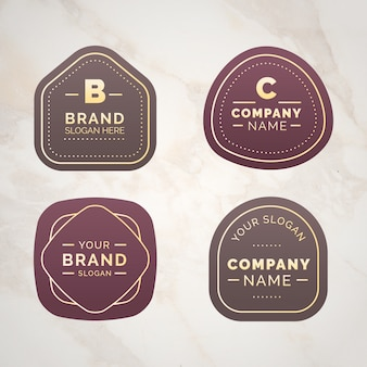 Logo-collectie op marmeren achtergrond sjabloon