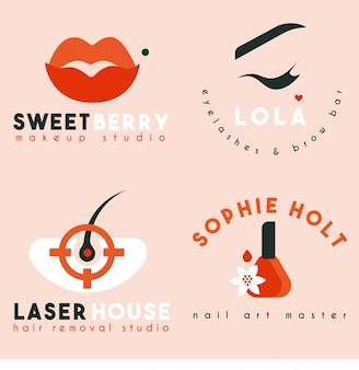 Logo collectie voor beauty studio, nail art, makeup, brow bar