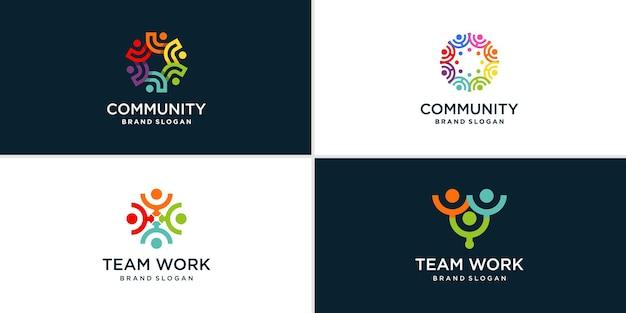 Logo-collectie voor gemeenschap en teamwerk premium vector
