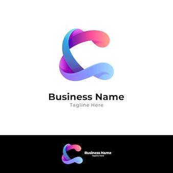 Logo concept van letter c combinatie met wave