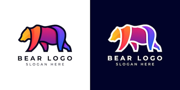 Logo design modern bear kleurrijk of gradiënt