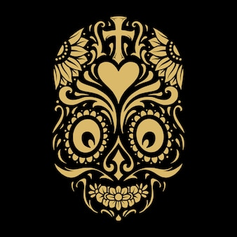 Logo dia de muertos tattoo skull gold ornate
