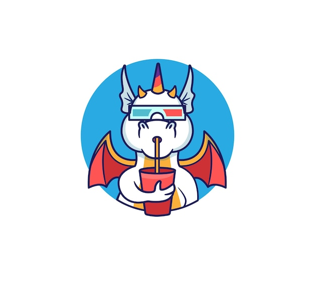 Logo dragon kijkt naar een film en nipt van een drankje. regenboog eenhoorn-monster.