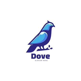 Logo duif eenvoudige mascotte stijl.