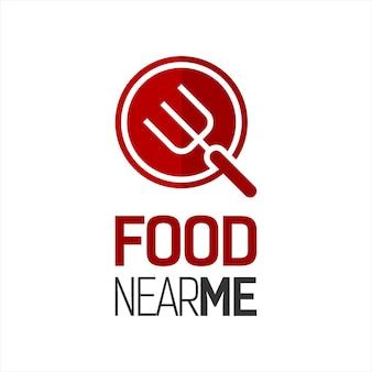 Logo eenvoudig eten bij mij in de buurt rood pictogram met vork erin